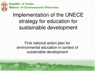 Implementation of the UNECE strategy for education for sustainable development