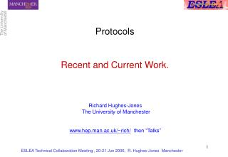 Protocols Recent and Current Work.
