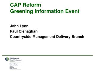 CAP Reform Greening Information Event