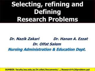 Selecting, refining and Defining Research Problems