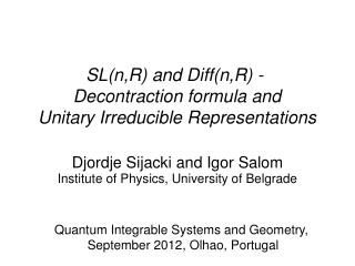SL(n,R) and Diff(n,R) - Decontraction formula and  Unitary Irreducible Representations