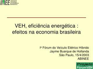 VEH, eficiência energética :  efeitos na economia brasileira