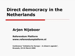 Direct democracy in the Netherlands