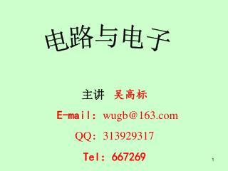 主讲    吴高标 E-mail : wugb@163 QQ : 313929317 Tel : 667269