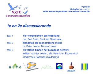 1e en 2e discussieronde zaal 1 Vier vergezichten op Nederland