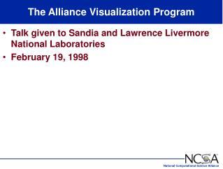 The Alliance Visualization Program