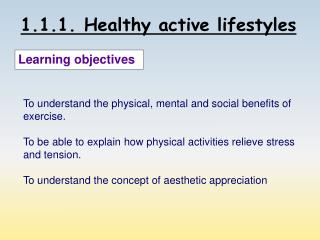 1.1.1. Healthy active lifestyles