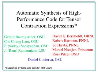 Automatic Synthesis of High-Performance Code for Tensor Contraction Expressions*