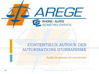 CONTENTIEUX AUTOUR DES AUTORISATIONS D ' URBANISME