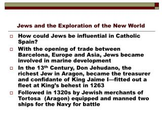 Jews and the Exploration of the New World