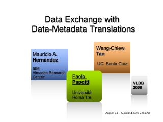 Data Exchange with  Data-Metadata Translations