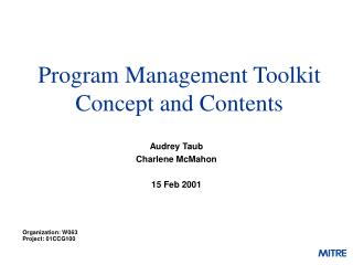 Program Management Toolkit Concept and Contents