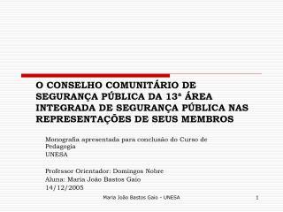 O CONSELHO COMUNIT RIO DE SEGURAN A P BLICA DA 13   REA INTEGRADA DE SEGURAN A P BLICA NAS REPRESENTA  ES DE SEUS MEMBRO