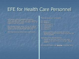 EFE for Health Care Personnel