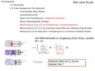 Thermodynamik 2. 4. Reale Gase 2.5. Erster Hauptsatz der Thermodynamik