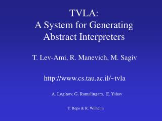 TVLA:  A System for Generating  Abstract Interpreters