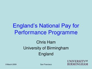 England's National Pay for Performance Programme