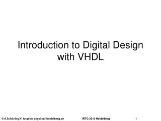 Introduction to Digital Design with VHDL