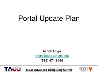Portal Update Plan