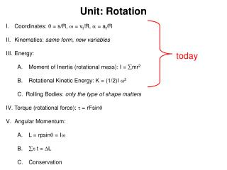 Unit: Rotation Coordinates:  = s/R,  =  v t /R,  = a t /R Kinematics:  same form, new variables