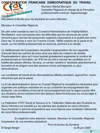 CONFEDERATION  FRANCAISE  DEMOCRATIQUE  DU  TRAVAIL Monsieur Martial Bourquin