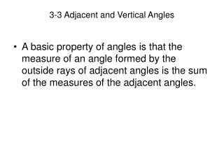 3-3 Adjacent and Vertical Angles