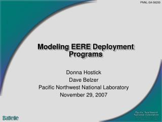 Modeling EERE Deployment Programs