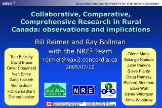 Collaborative, Comparative, Comprehensive Research in Rural Canada: observations and implications
