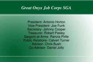 Great Onyx Job Corps SGA