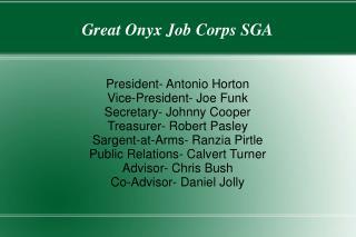 Great Onyx Job Corps SGA