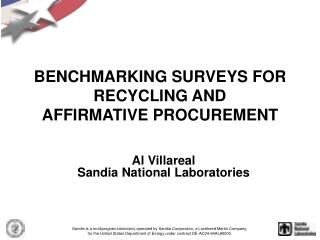 BENCHMARKING SURVEYS FOR RECYCLING AND AFFIRMATIVE PROCUREMENT