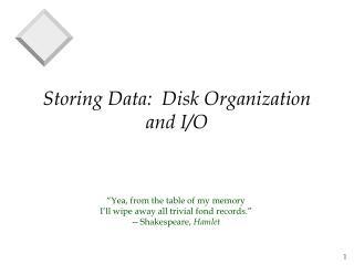 Storing Data:  Disk Organization and I/O