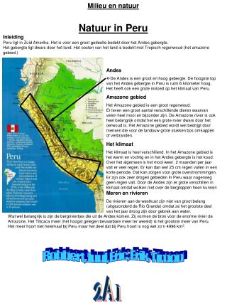 Milieu en natuur Natuur in Peru Inleiding