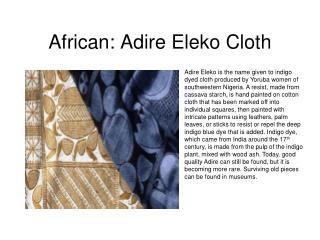 African: Adire Eleko Cloth