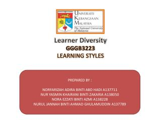 Learner Diversity GGGB3223 LEARNING STYLES