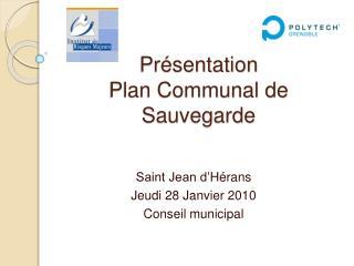 Pr sentation  Plan Communal de Sauvegarde