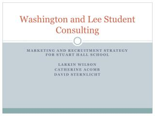 Washington and Lee Student Consulting