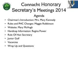 Connacht  Honorary Secretary's  Meetings  2014