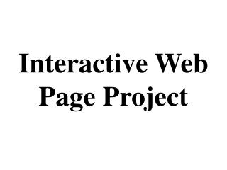 Interactive Web Page Project