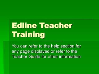Edline Teacher Training