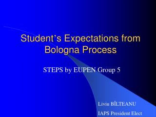 Student ' s Expectations from Bologna Process