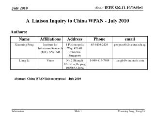 A  Liaison Inquiry to China WPAN - July 2010