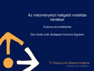 Az intézményközi hallgatói mobilitás kérdései