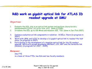 R&D work on gigabit optical link for ATLAS ID readout upgrade at SMU
