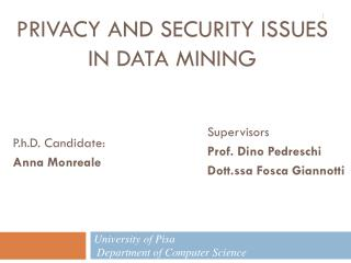 PRIVACY AND security Issues  IN Data Mining