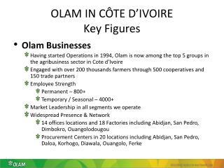 OLAM IN CÔTE D'IVOIRE Key Figures