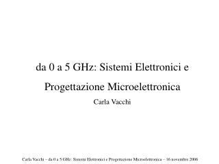 da 0 a 5 GHz: Sistemi Elettronici e  Progettazione Microelettronica Carla Vacchi
