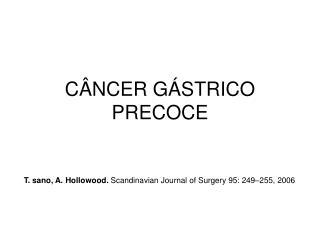 C�NCER G�STRICO PRECOCE