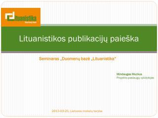 Lituanistikos publikacijų paieška