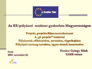 Az EU-pályázati  rendszer gyakorlata Magyarországon Projekt, projektciklus-menedzsment
